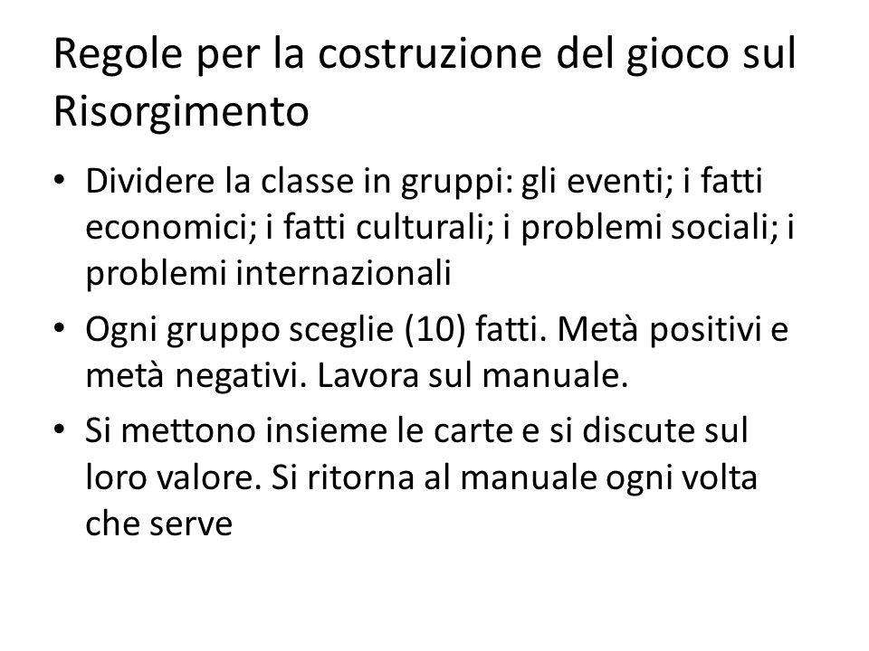 Regole per la costruzione del gioco sul Risorgimento Dividere la classe in gruppi: gli eventi; i fatti economici; i fatti culturali; i problemi sociali; i problemi internazionali Ogni gruppo sceglie (10) fatti.