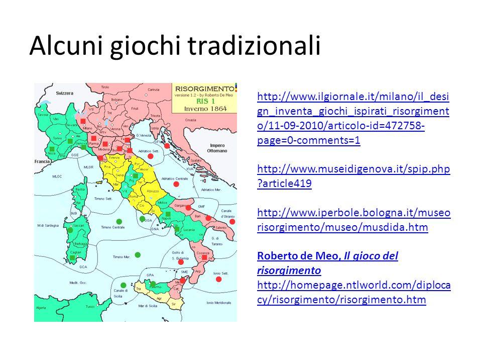 Alcuni giochi tradizionali http://www.ilgiornale.it/milano/il_desi gn_inventa_giochi_ispirati_risorgiment o/11-09-2010/articolo-id=472758- page=0-comments=1 http://www.museidigenova.it/spip.php article419 http://www.iperbole.bologna.it/museo risorgimento/museo/musdida.htm Roberto de Meo, Il gioco del risorgimento http://homepage.ntlworld.com/diploca cy/risorgimento/risorgimento.htm