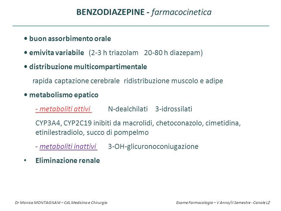 buon assorbimento orale emivita variabile (2-3 h triazolam 20-80 h diazepam) distribuzione multicompartimentale rapida captazione cerebrale ridistribu