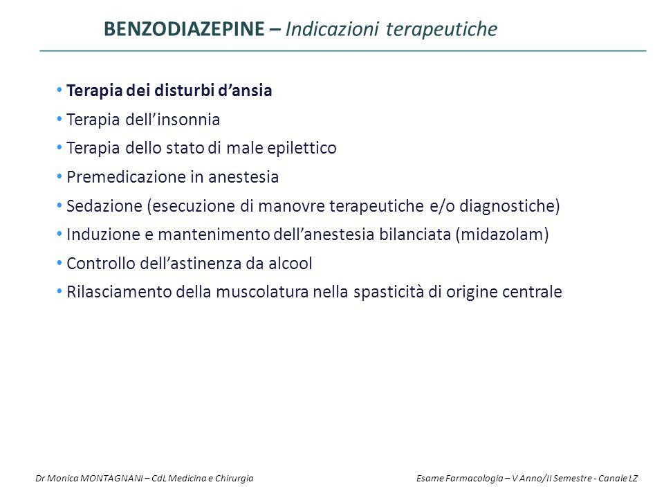 BENZODIAZEPINE – Indicazioni terapeutiche Terapia dei disturbi d'ansia Terapia dell'insonnia Terapia dello stato di male epilettico Premedicazione in