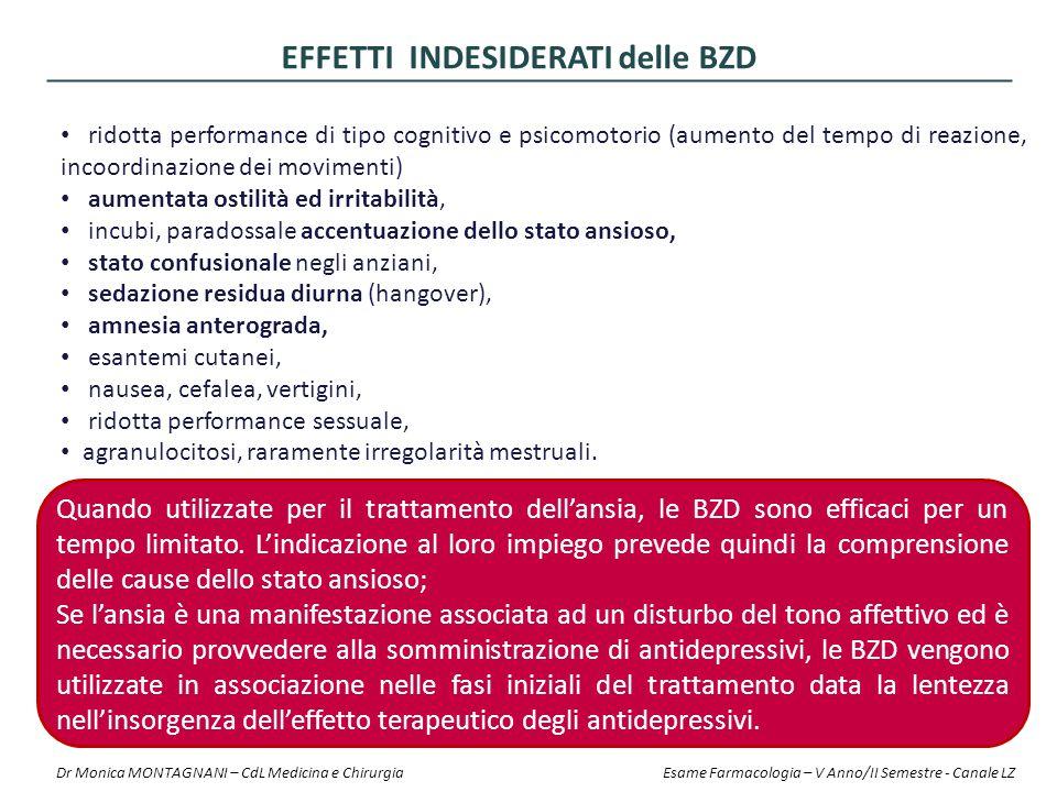 ridotta performance di tipo cognitivo e psicomotorio (aumento del tempo di reazione, incoordinazione dei movimenti) aumentata ostilità ed irritabilità