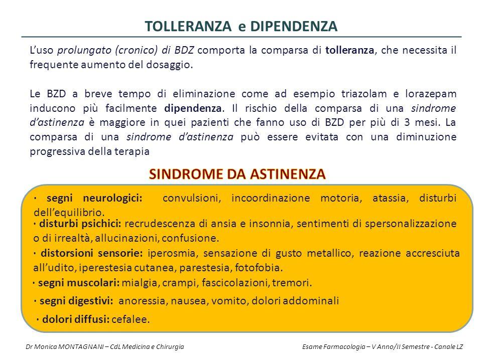 L'uso prolungato (cronico) di BDZ comporta la comparsa di tolleranza, che necessita il frequente aumento del dosaggio. Le BZD a breve tempo di elimina