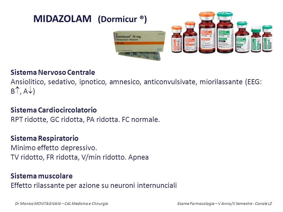 Sistema Nervoso Centrale Ansiolitico, sedativo, ipnotico, amnesico, anticonvulsivate, miorilassante (EEG: B , A  ) Sistema Cardiocircolatorio RPT ri