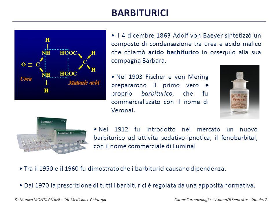 BARBITURICI Tra il 1950 e il 1960 fu dimostrato che i barbiturici causano dipendenza. Dal 1970 la prescrizione di tutti i barbiturici è regolata da un