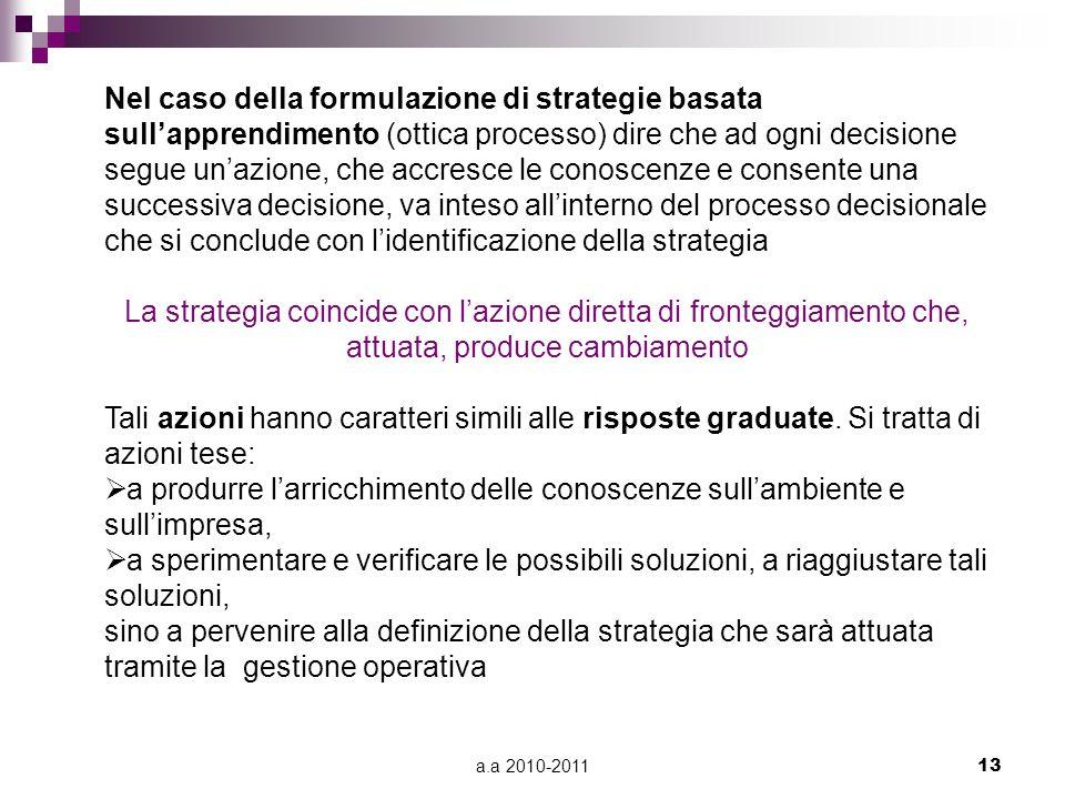 a.a 2010-201113 Nel caso della formulazione di strategie basata sull'apprendimento (ottica processo) dire che ad ogni decisione segue un'azione, che a