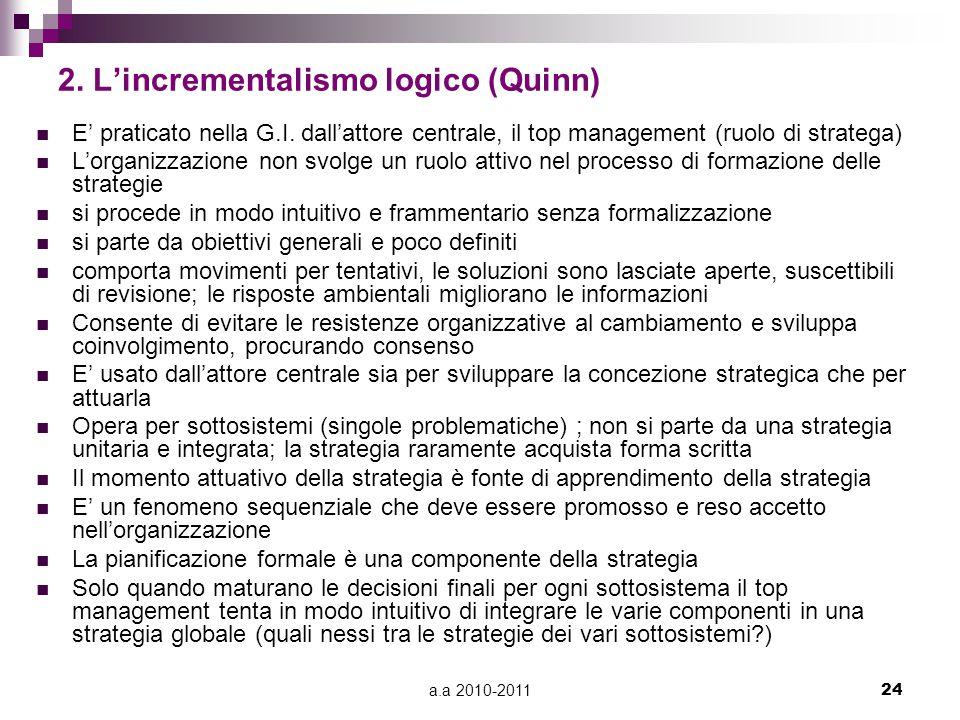 a.a 2010-201124 2. L'incrementalismo logico (Quinn) E' praticato nella G.I. dall'attore centrale, il top management (ruolo di stratega) L'organizzazio