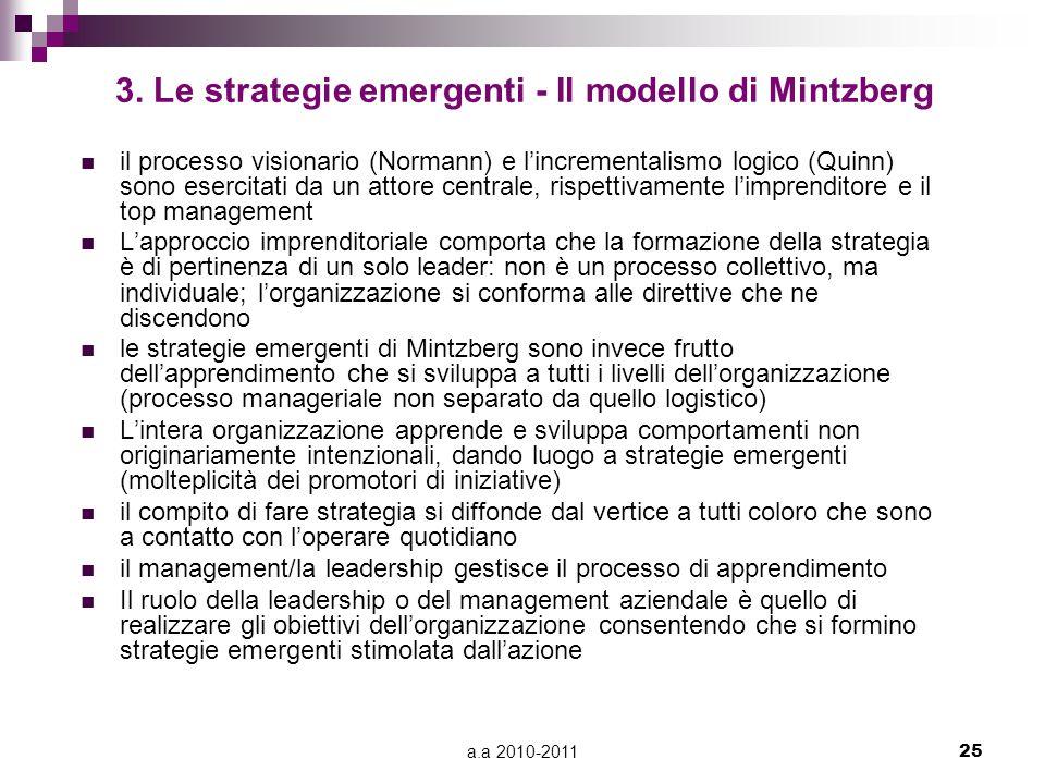a.a 2010-201125 3. Le strategie emergenti - Il modello di Mintzberg il processo visionario (Normann) e l'incrementalismo logico (Quinn) sono esercitat
