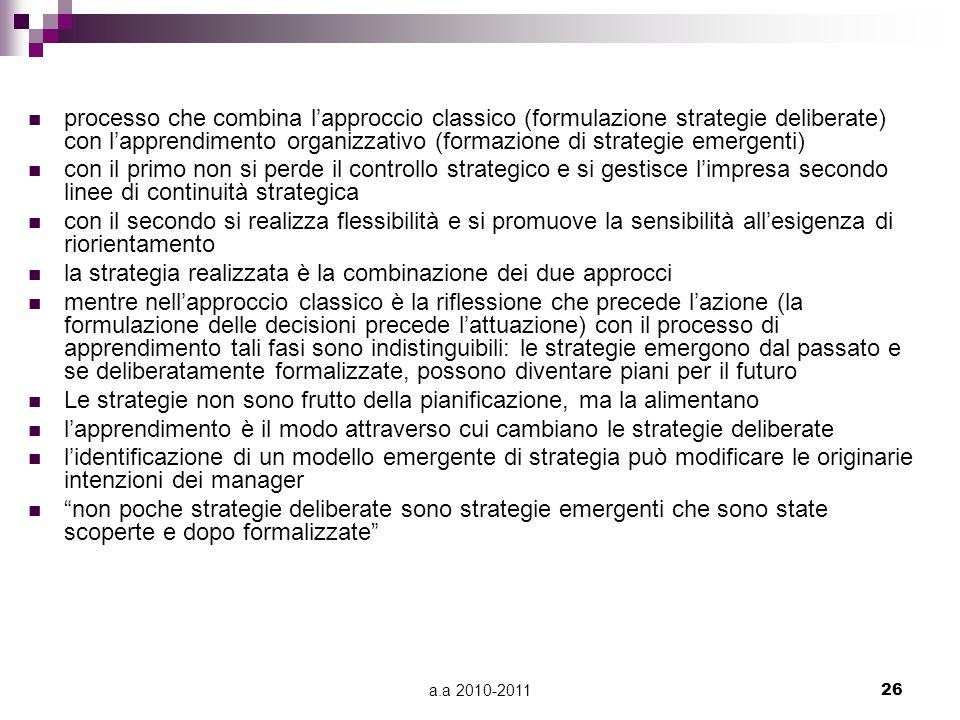 a.a 2010-201126 processo che combina l'approccio classico (formulazione strategie deliberate) con l'apprendimento organizzativo (formazione di strateg
