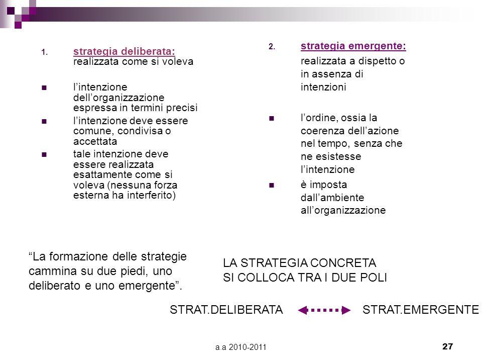 a.a 2010-201127 1. strategia deliberata: realizzata come si voleva l'intenzione dell'organizzazione espressa in termini precisi l'intenzione deve esse