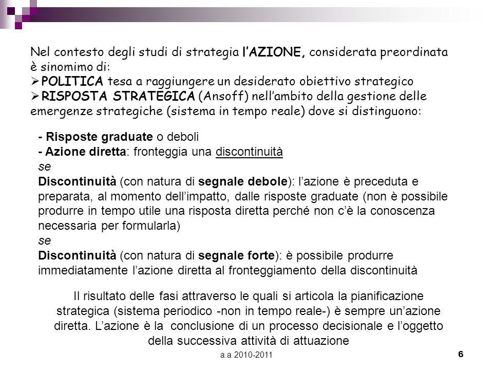 a.a 2010-20116 Nel contesto degli studi di strategia l'AZIONE, considerata preordinata è sinomimo di:  POLITICA tesa a raggiungere un desiderato obie