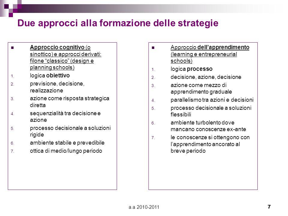 """a.a 2010-20117 Due approcci alla formazione delle strategie Approccio cognitivo (o sinottico) e approcci derivati: filone """"classico"""" (design e plannin"""