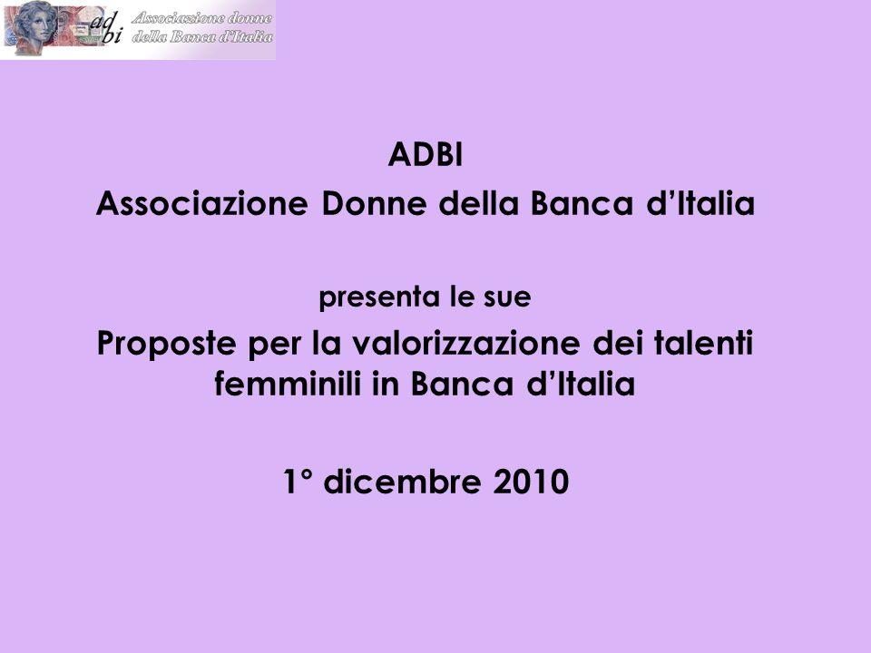 ADBI Associazione Donne della Banca d'Italia presenta le sue Proposte per la valorizzazione dei talenti femminili in Banca d'Italia 1° dicembre 2010