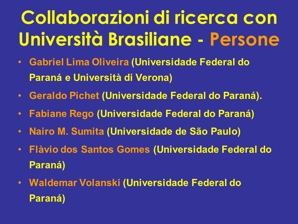 Collaborazioni di ricerca con Università Brasiliane - Persone Gabriel Lima Oliveira (Universidade Federal do Paraná e Università di Verona) Geraldo Pichet (Universidade Federal do Paraná).