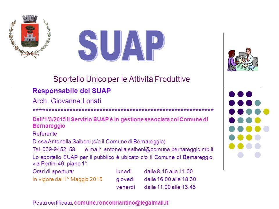 Sportello Unico per le Attività Produttive Responsabile del SUAP Arch.