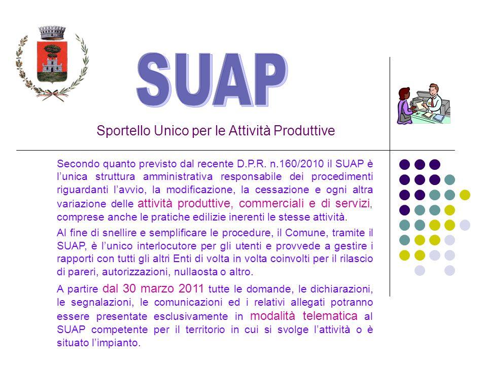 Sportello Unico per le Attività Produttive Secondo quanto previsto dal recente D.P.R.