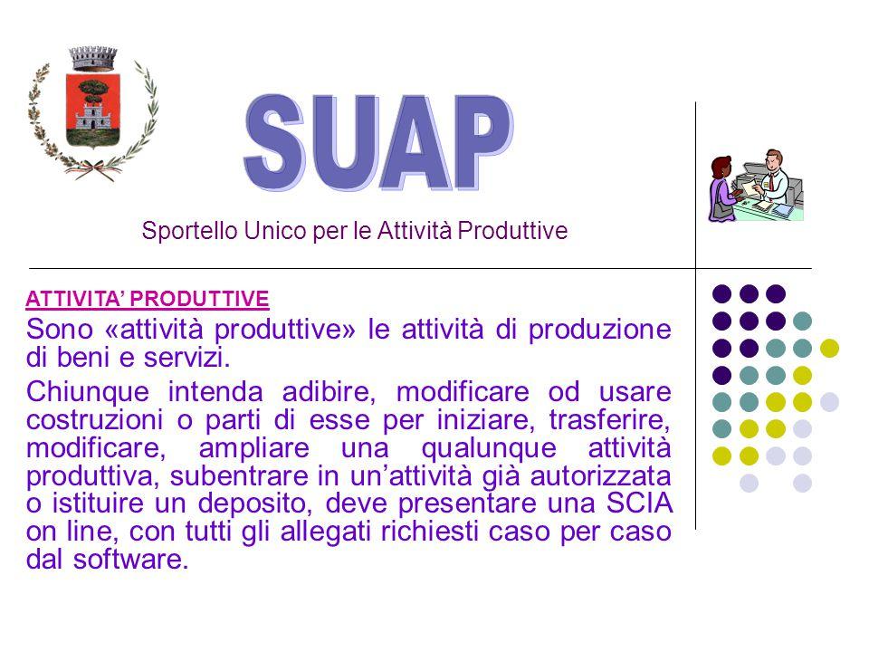 Sportello Unico per le Attività Produttive ATTIVITA' PRODUTTIVE Sono «attività produttive» le attività di produzione di beni e servizi.