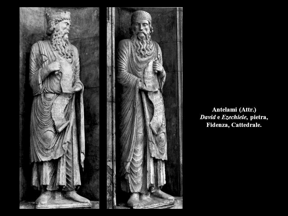 Antelami (Attr.) David e Ezechiele, pietra, Fidenza, Cattedrale.