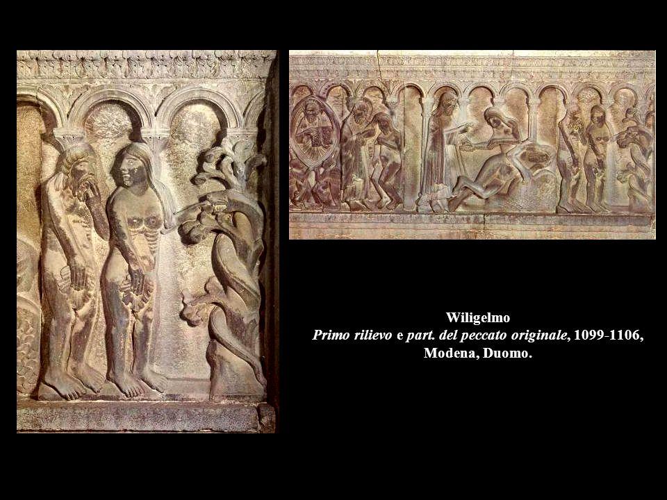 Wiligelmo Primo rilievo e part. del peccato originale, 1099-1106, Modena, Duomo.