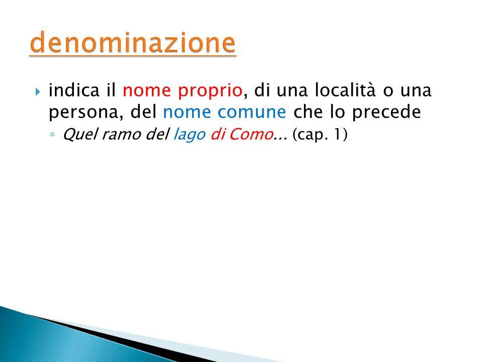  indica il nome proprio, di una località o una persona, del nome comune che lo precede ◦ Quel ramo del lago di Como...