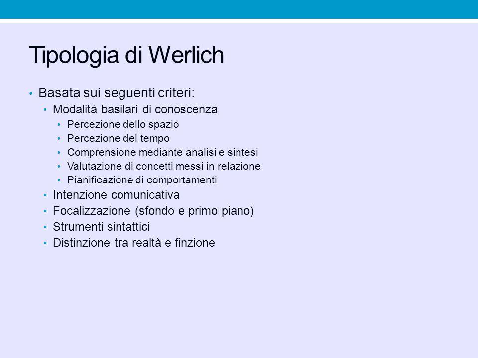 Tipologia di Werlich Basata sui seguenti criteri: Modalità basilari di conoscenza Percezione dello spazio Percezione del tempo Comprensione mediante a