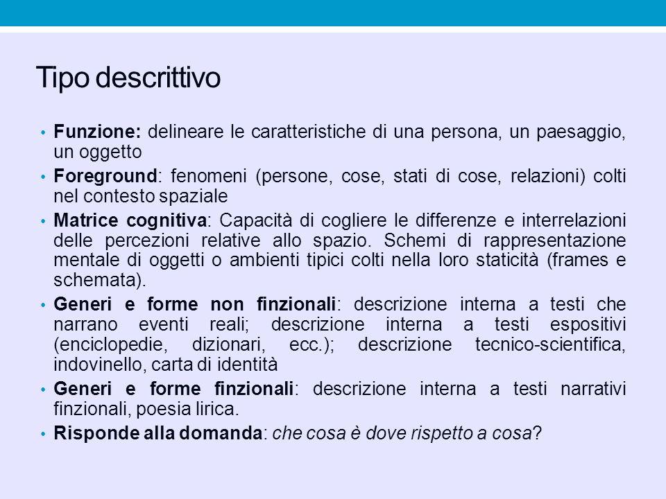 Tipo descrittivo Funzione: delineare le caratteristiche di una persona, un paesaggio, un oggetto Foreground: fenomeni (persone, cose, stati di cose, r