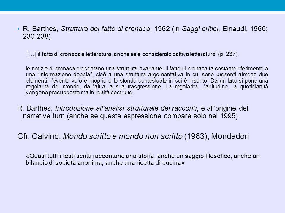 """R. Barthes, Struttura del fatto di cronaca, 1962 (in Saggi critici, Einaudi, 1966: 230-238) """"[…] il fatto di cronaca è letteratura, anche se è conside"""