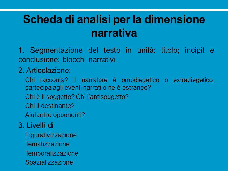 Scheda di analisi per la dimensione narrativa 1. Segmentazione del testo in unità: titolo; incipit e conclusione; blocchi narrativi 2. Articolazione: