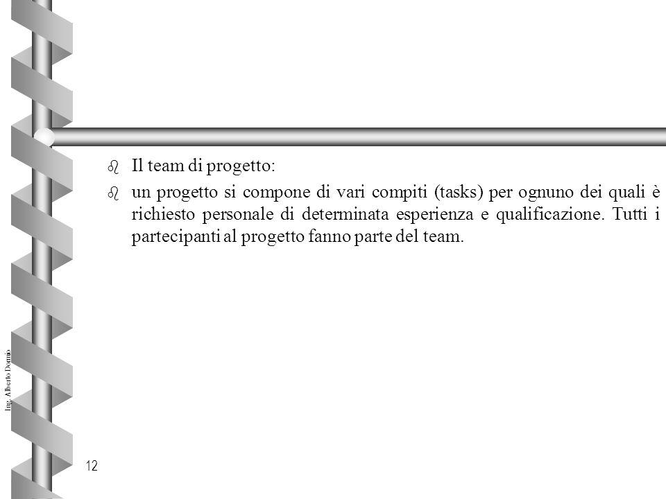 Ing. Alberto Dormio 12 b Il team di progetto: b un progetto si compone di vari compiti (tasks) per ognuno dei quali è richiesto personale di determina
