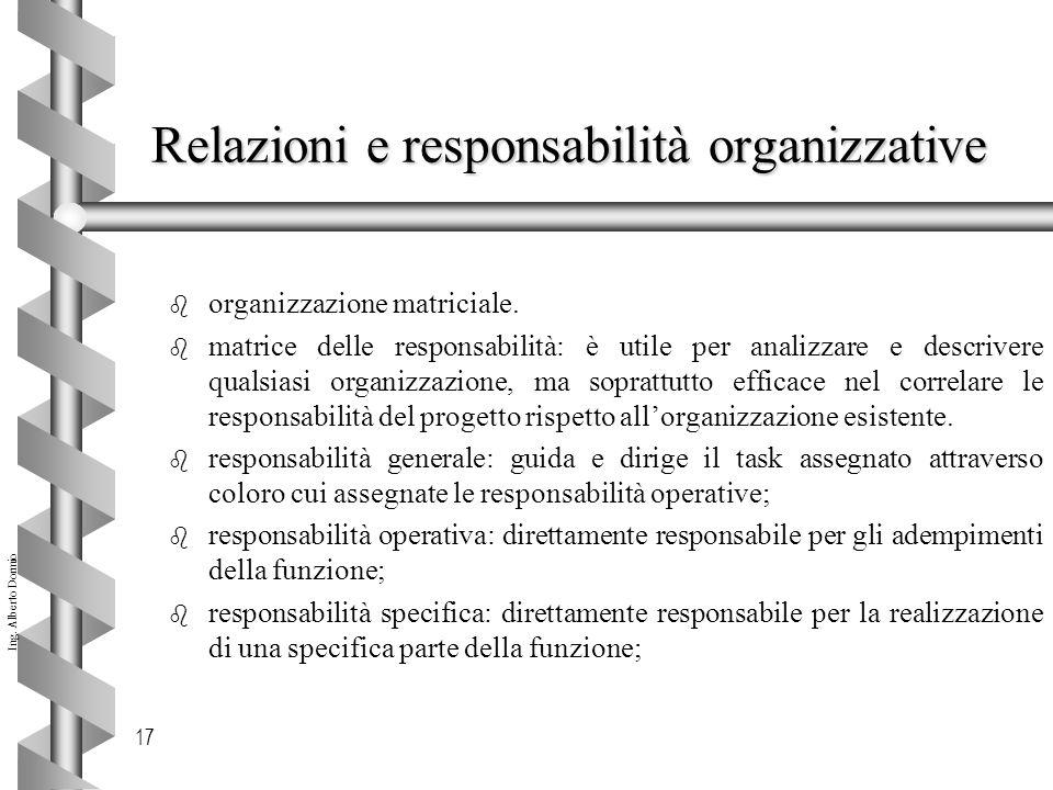 Ing.Alberto Dormio 17 Relazioni e responsabilità organizzative b organizzazione matriciale.