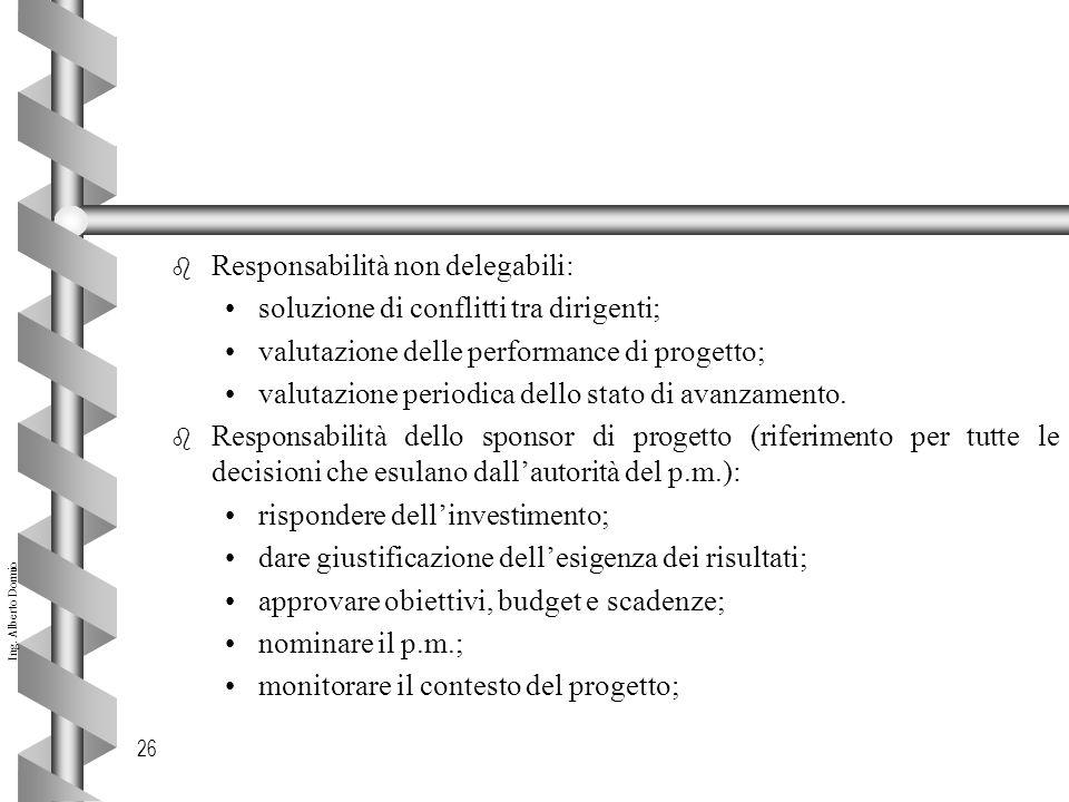 Ing. Alberto Dormio 26 b Responsabilità non delegabili: soluzione di conflitti tra dirigenti; valutazione delle performance di progetto; valutazione p