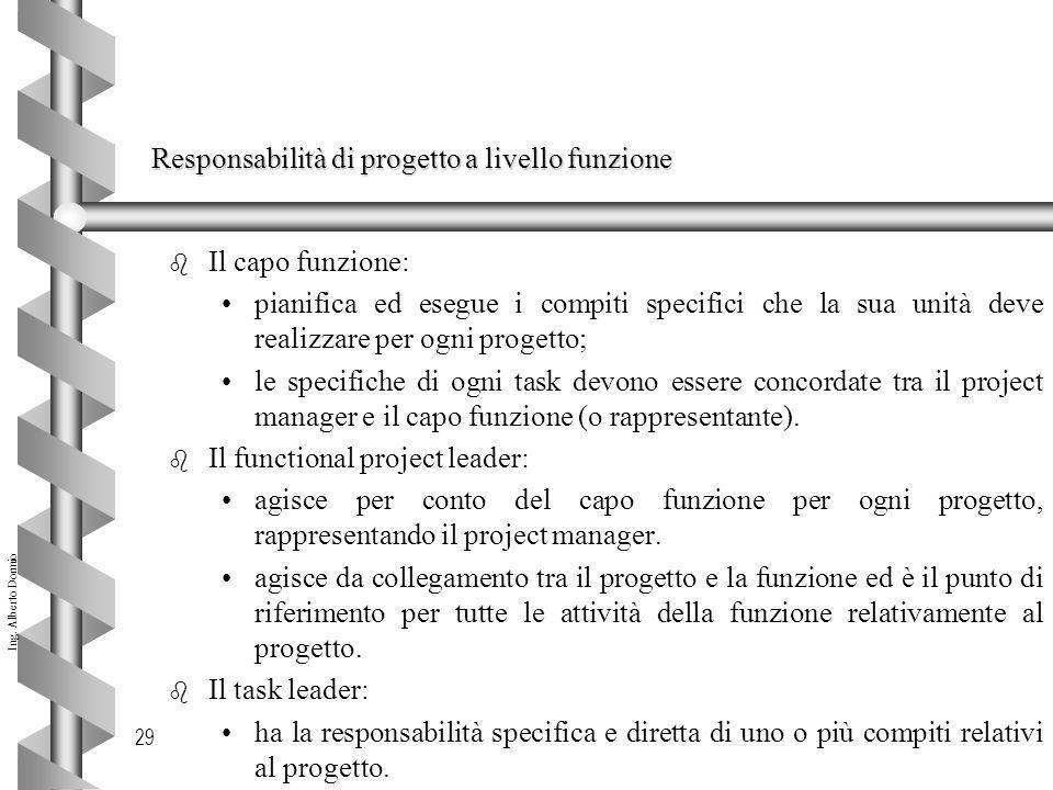 Ing. Alberto Dormio 29 Responsabilità di progetto a livello funzione b Il capo funzione: pianifica ed esegue i compiti specifici che la sua unità deve