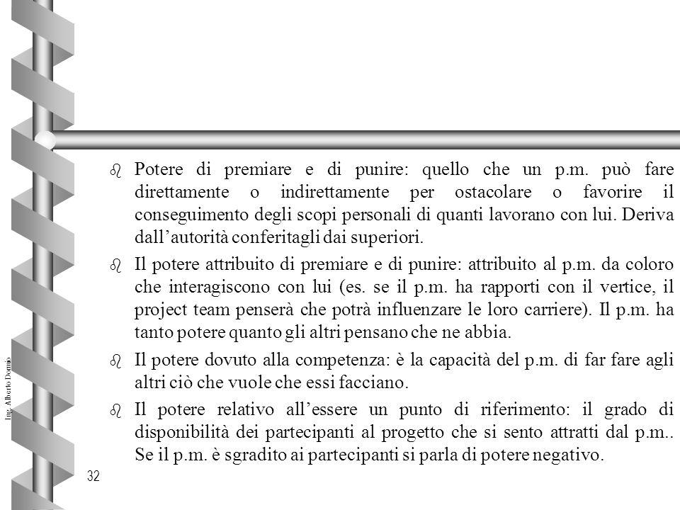 Ing.Alberto Dormio 32 b Potere di premiare e di punire: quello che un p.m.