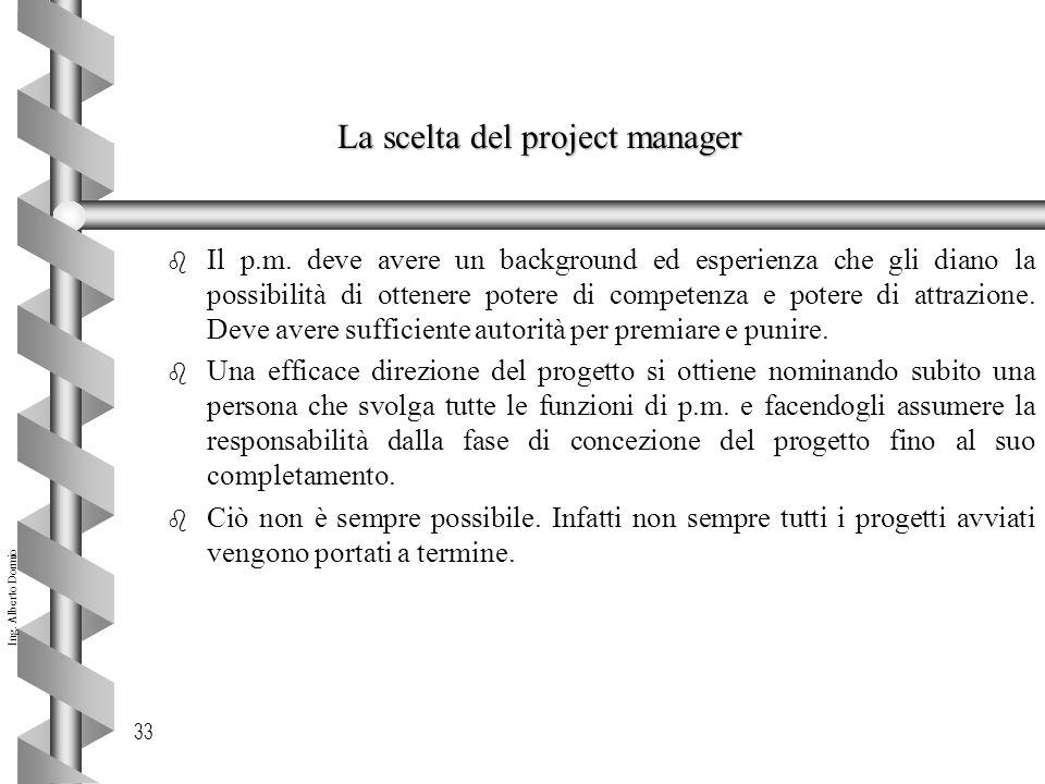 Ing.Alberto Dormio 33 La scelta del project manager b Il p.m.