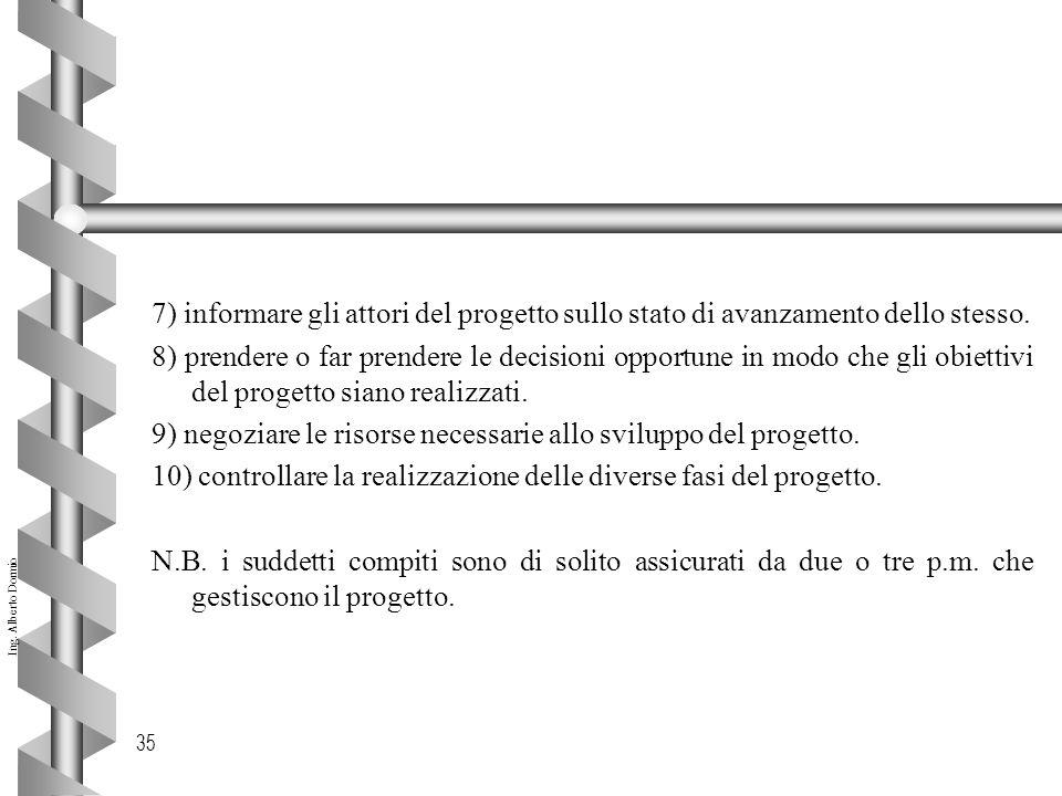Ing. Alberto Dormio 35 7) informare gli attori del progetto sullo stato di avanzamento dello stesso. 8) prendere o far prendere le decisioni opportune
