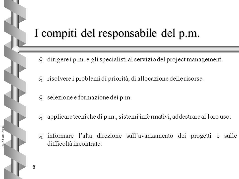 Ing.Alberto Dormio 8 I compiti del responsabile del p.m.