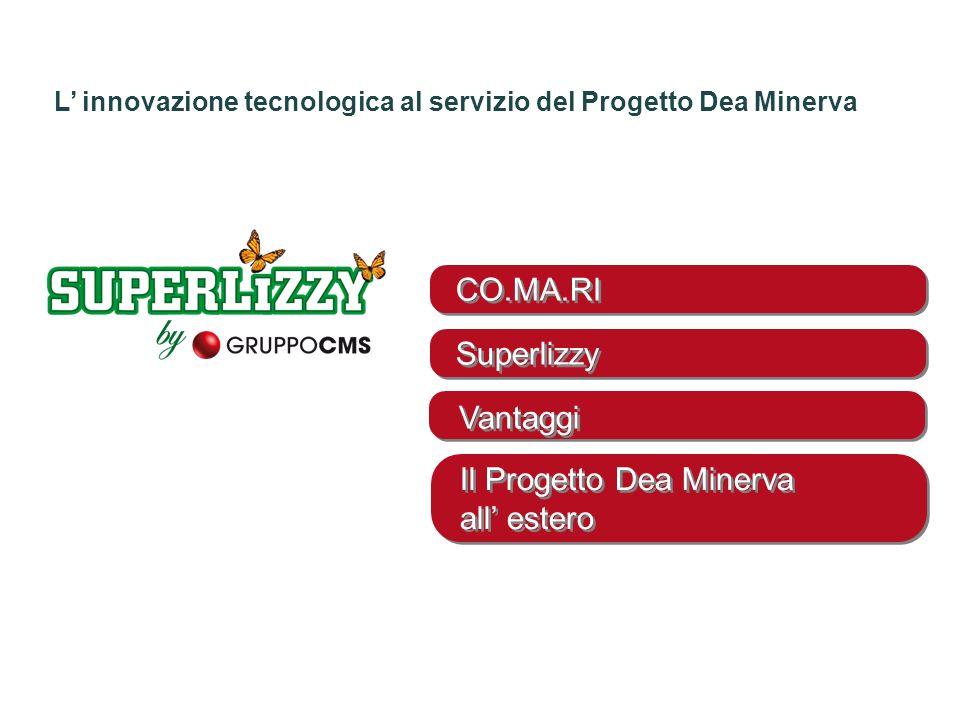 CO.MA.RI Superlizzy Vantaggi Il Progetto Dea Minerva all' estero L' innovazione tecnologica al servizio del Progetto Dea Minerva