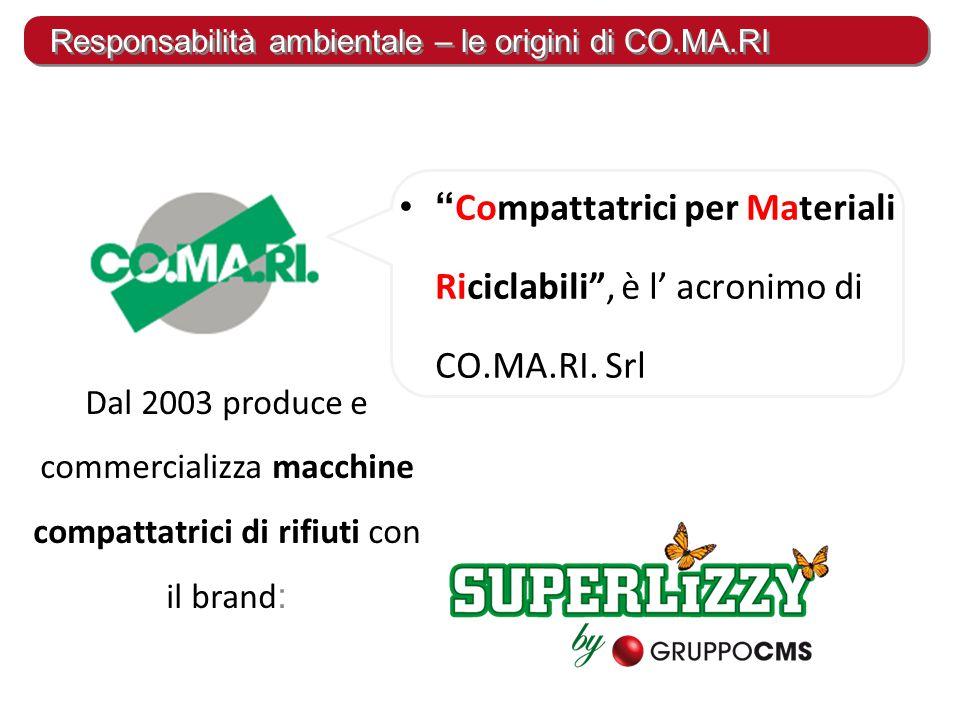 """"""" Compattatrici per Materiali Riciclabili"""", è l' acronimo di CO.MA.RI. Srl Dal 2003 produce e commercializza macchine compattatrici di rifiuti con il"""