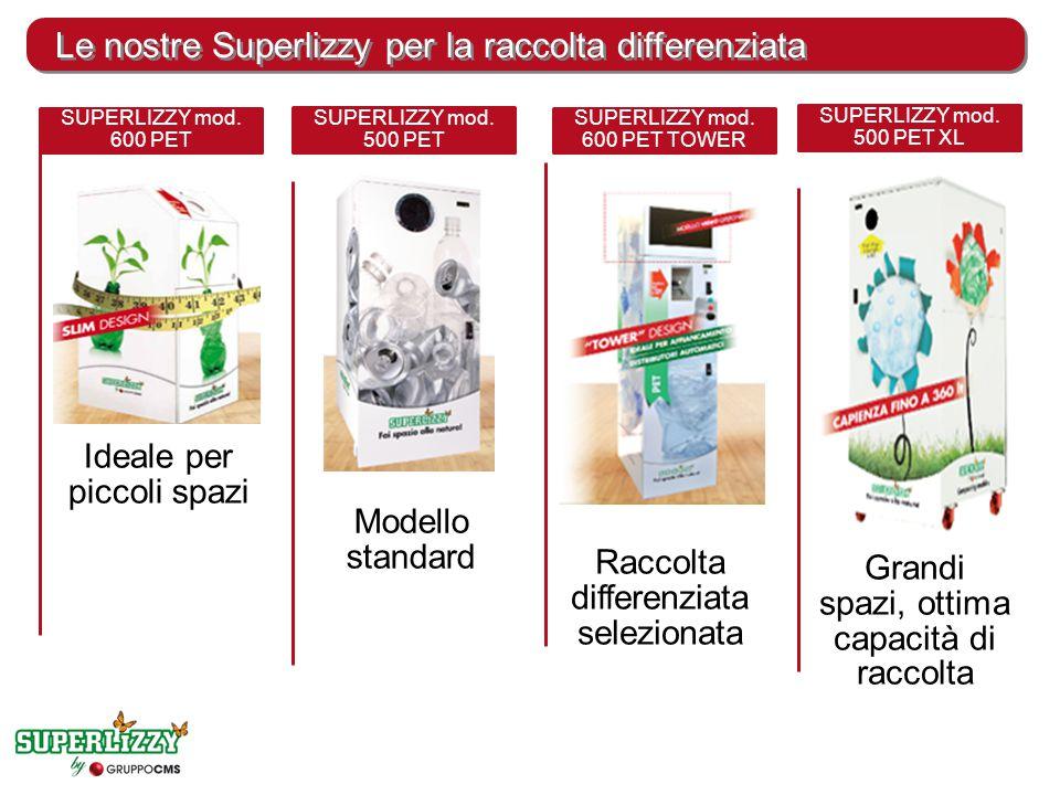 Le nostre Superlizzy per la raccolta differenziata Ideale per piccoli spazi SUPERLIZZY mod. 600 PET Modello standard SUPERLIZZY mod. 500 PET Raccolta