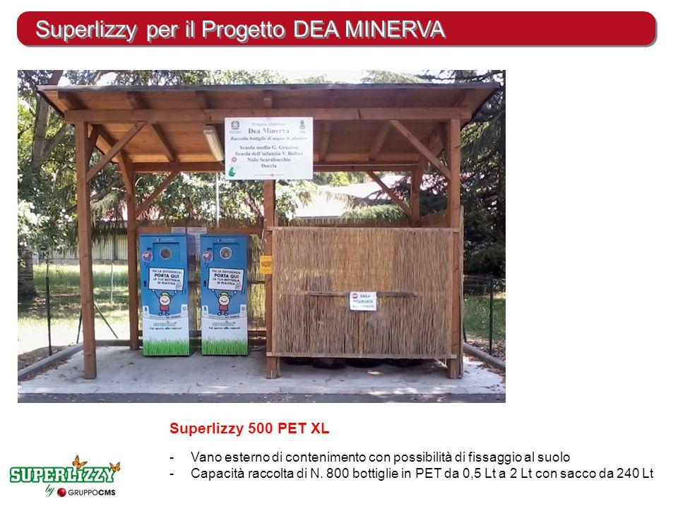 Superlizzy per il Progetto DEA MINERVA Superlizzy 500 PET XL -Vano esterno di contenimento con possibilità di fissaggio al suolo -Capacità raccolta di N.