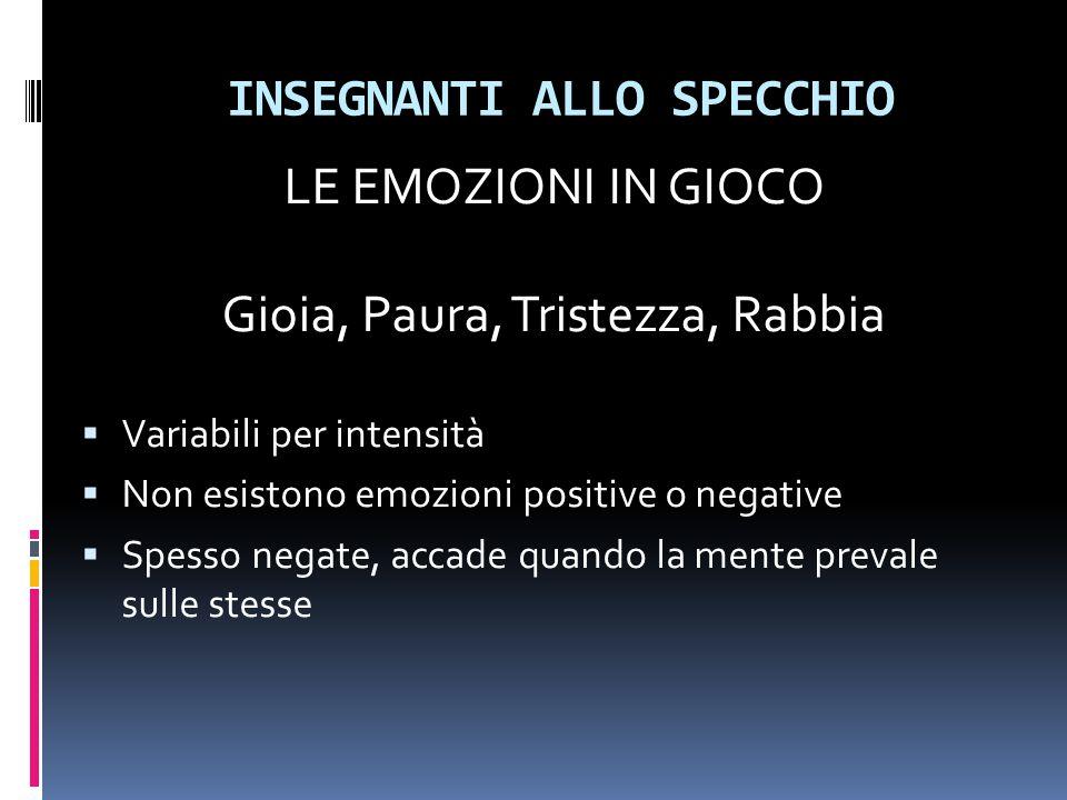 INSEGNANTI ALLO SPECCHIO LE EMOZIONI IN GIOCO Gioia, Paura, Tristezza, Rabbia  Variabili per intensità  Non esistono emozioni positive o negative 