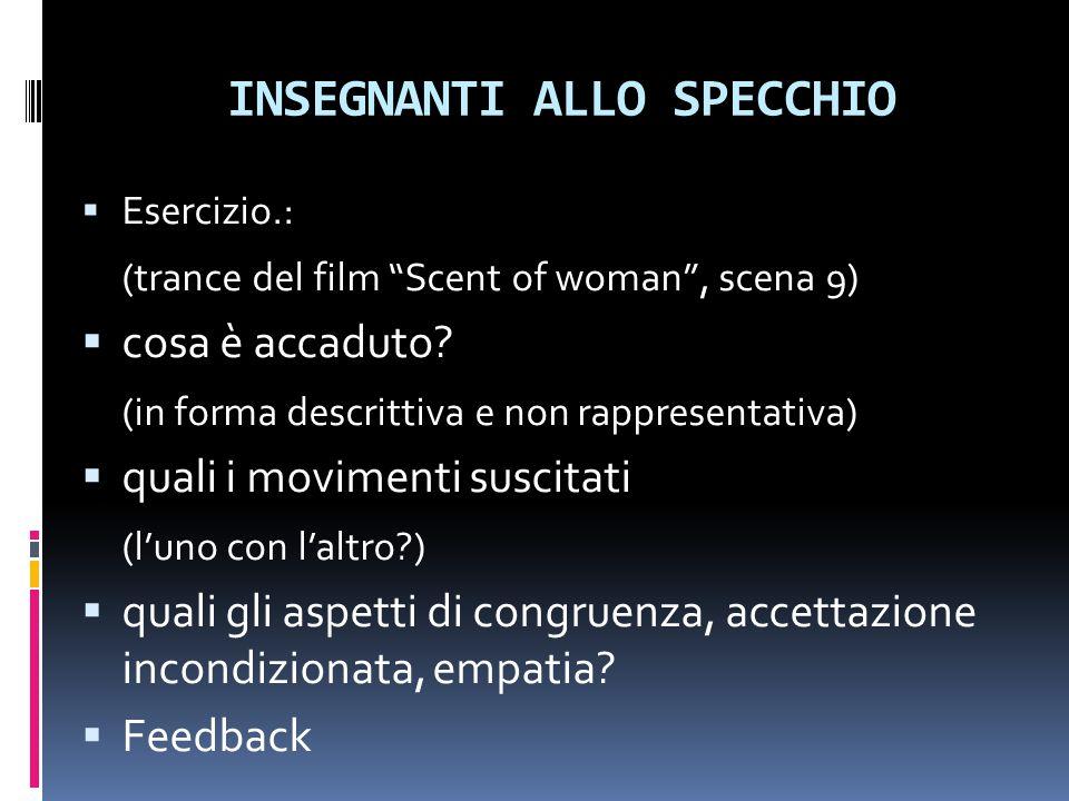 """INSEGNANTI ALLO SPECCHIO  Esercizio.: (trance del film """"Scent of woman"""", scena 9)  cosa è accaduto? (in forma descrittiva e non rappresentativa)  q"""