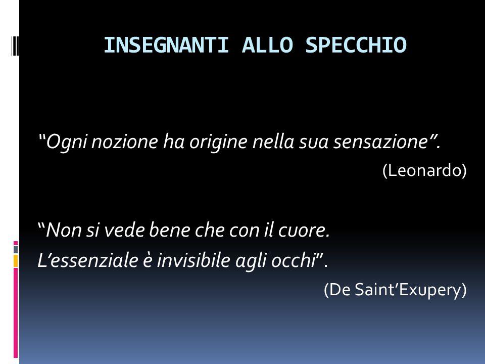 """INSEGNANTI ALLO SPECCHIO """"Ogni nozione ha origine nella sua sensazione"""". (Leonardo) """"Non si vede bene che con il cuore. L'essenziale è invisibile agli"""
