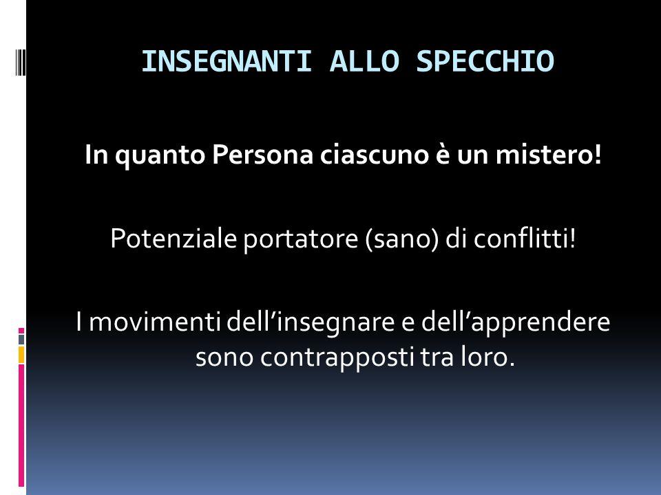 INSEGNANTI ALLO SPECCHIO In quanto Persona ciascuno è un mistero! Potenziale portatore (sano) di conflitti! I movimenti dell'insegnare e dell'apprende