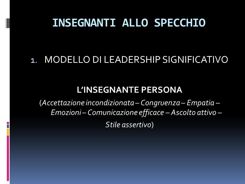 INSEGNANTI ALLO SPECCHIO 1. MODELLO DI LEADERSHIP SIGNIFICATIVO L'INSEGNANTE PERSONA (Accettazione incondizionata – Congruenza – Empatia – Emozioni –