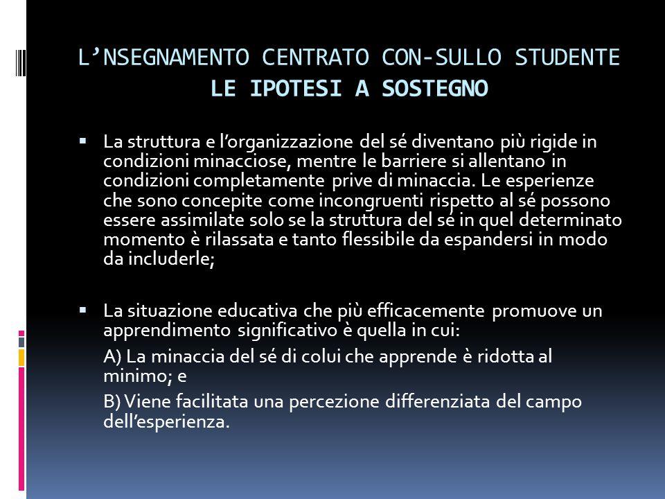 L'NSEGNAMENTO CENTRATO CON-SULLO STUDENTE LE IPOTESI A SOSTEGNO  La struttura e l'organizzazione del sé diventano più rigide in condizioni minacciose