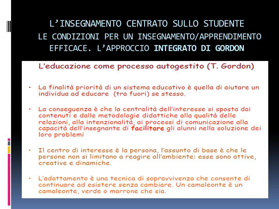 L'INSEGNAMENTO CENTRATO SULLO STUDENTE LE CONDIZIONI PER UN INSEGNAMENTO/APPRENDIMENTO EFFICACE. L'APPROCCIO INTEGRATO DI GORDON
