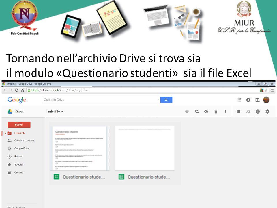 Tornando nell'archivio Drive si trova sia il modulo «Questionario studenti» sia il file Excel