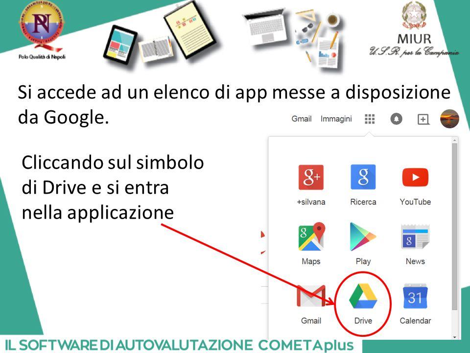Si accede ad un elenco di app messe a disposizione da Google. Cliccando sul simbolo di Drive e si entra nella applicazione