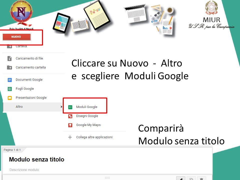 Cliccando su Modulo senza titolo in alto a sinistra si può inserire un titolo: