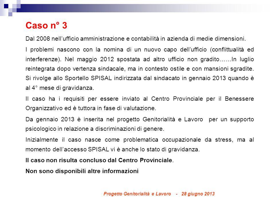 Caso n° 3 Dal 2008 nell'ufficio amministrazione e contabilità in azienda di medie dimensioni.